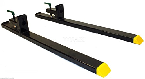 "Titan Attachments Heavy Duty 60"" Clamp-on Pallet Forks 4000 lbs for Loader Bucket Tractor Bucket or Skidsteer Easy to Install"