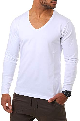 Young & Rich Herren Langarm Shirt mit tiefem V-Ausschnitt deep v-Neck Longsleeve Slim fit Stretch 2239, Grösse:S, Farbe:Weiß
