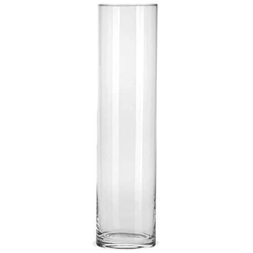 matches21 - Jarrón alto decorativo de cristal transparente para flores, cilíndrico, redondo, 1 unidad, 3 tamaños