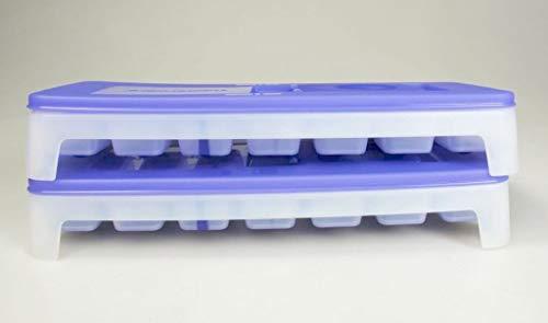 TUPPERWARE Eiswürfler Gefrier-Behälter Eiswürfel-Behälter + Deckel lila blau (2) 30834