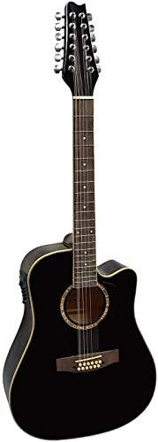 Guitare Electro-Acoustique 12 Cordes Noire ~ Neuve & Garantie