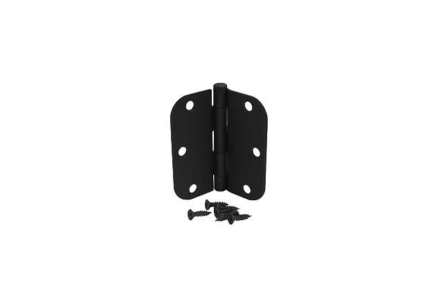 3 1//2 Inch Matte Black Door Hinges with 5//8 Radius Corners Pack of 3