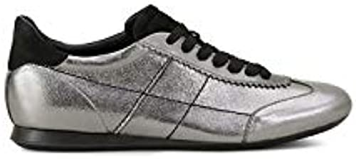 Hogan - Olympia in metallic Silber Leather and schwarz Suede - HXW0570AL40JDG919D