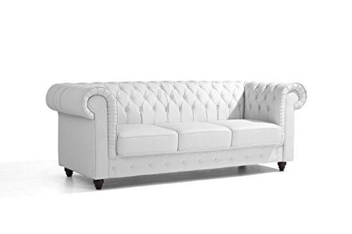 SO LIVING soliving Chester sofá Chesterfield 3plazas extraíble, Piel, Color Blanco, 223x 90x 77cm