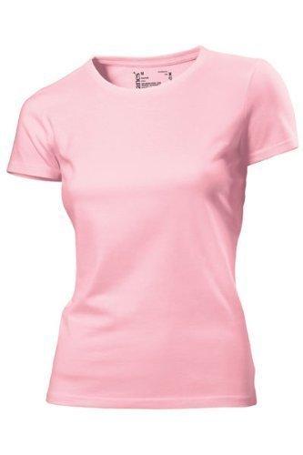 Hanes - T Shirt Femme Uni sans Etiquette Bio sans Logo Manche Courte Rose Rose 18