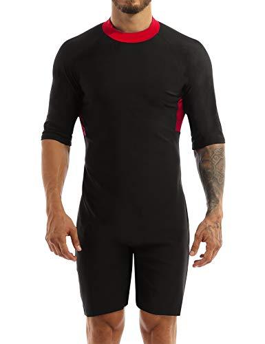 YiZYiF Men's Stretch Spandex Leotard Short Sleeve Wrestling Singlets Swimsuit Wetsuit Red Medium
