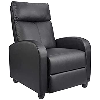 Homall Recliner Chair Padded Seat Pu Leather for Living Room Single Sofa Recliner Modern Recliner Seat Club Chair Home Theater Seating  Black