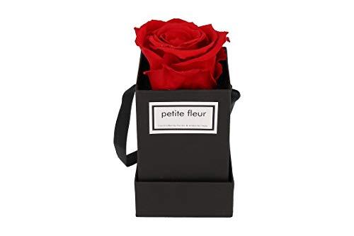 Petite Fleur Infinity Rosen Flowerbox XS schwarz - quadratisch 6 x 6 x 15 cm - langanhaltende farbenprächtige rote Blüte - 1 konservierte Rose