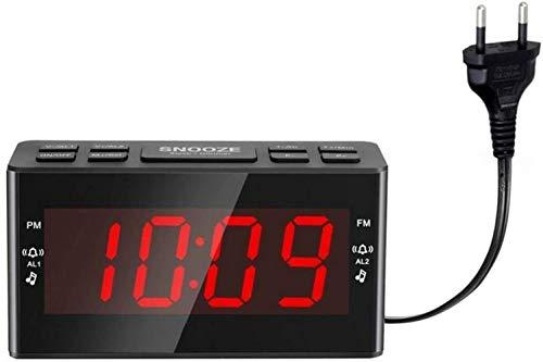 HAOHAOAM/FM Radio Wecker, LED-Temperaturanzeige Sleep Timer Digitaluhr, Dual Wecker Einstellbare Helligkeit Snooze Timer