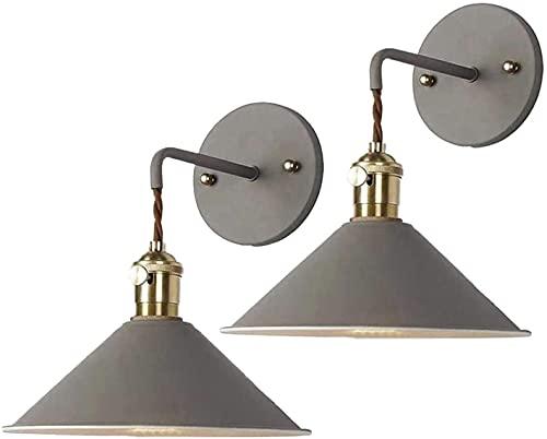 FXBFAG 2 paquetes de lámpara de pared industrial vintage de granja, LED de control remoto funciona con pilas para interiores y puertas de cocina (gris)