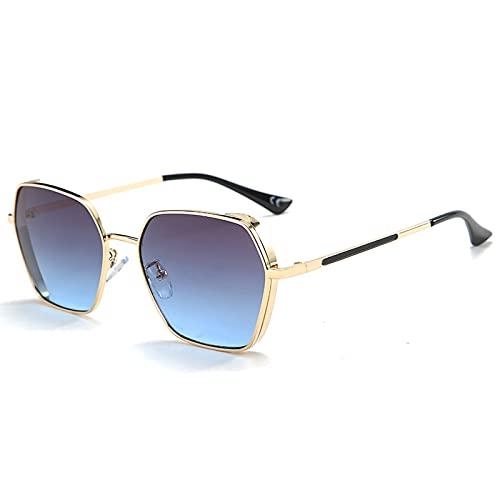 xzl Gafas de Sol de Aviator de Gran tamaño polarizado para Cabezas Grandes para Hombres Mujeres con Espejo, Gafas de Sol de Marco de Metal, 100% protección UV, D