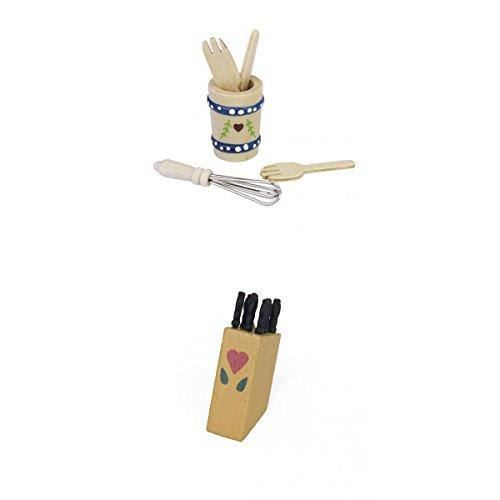 #N/A Set von 5 Stück Küchenholz 1/12 Puppenhaus Miniatur+01.12 Puppenhaus Miniatur Set (7 Stück) Messer Im Holzfass Mantel