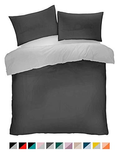 Lions Microfibre Plain Duvet Set Single Double King Quilt Cover with Pillow Cases Reversible Easy Care Bedding (Charcoal/Grey, Single)