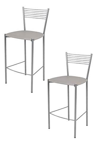 Tommychairs - Set 2 taburetes Elegance para Cocina y Bar, con Estructura en Acero Pintado Aluminio y Asiento tapizado en Polipiel Color Gris Claro