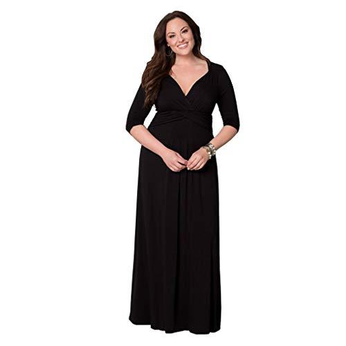 LOPILY Abendkleider Langes Kleider Damenmode Einfarbig V-Ausschnitt Unregelmäßiger Ärmel Strandkleid Partykleid Plus Size Hoher Taille Elegante Party Maxikleid(X1-Schwarz,DE-48/CN-L)