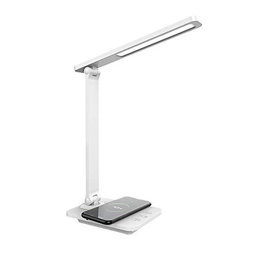 ZGNB Lámpara Escritorio LED con Carga Inalámbrica y Puerto de Carga USB Lámpara Escritorio LED Cuidado Ojos 3 Temperaturas de Color para Libro, Tablet