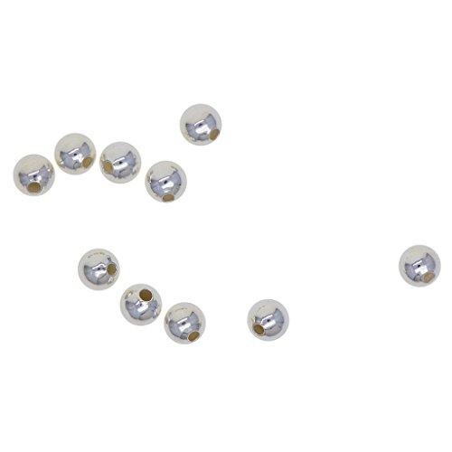 Non-brand 10 Stück 925 Sterling Silber Metallperlen Zwischenperlen Spacer Beads - 5mm (1,2mm Loch)
