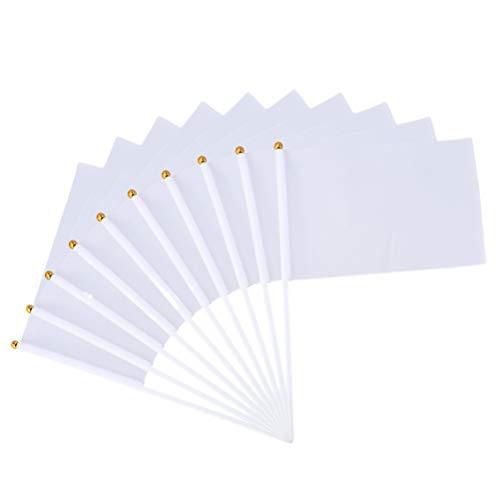 Amosfun 20 Stück weiße Leere Stick Flags Hand kleine weiße Fahnen auf Stick für Party Sport Clubs Festival Events