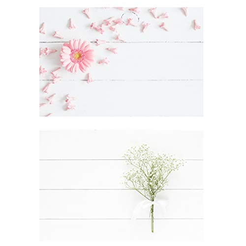HUAYI 32.6''X21.6''(83x55cm) 2 in 1 White Wood Floor with Pink Flower White Gypsophila Photo Background Backdrop Photography Wedding Floral Baby Newborns Party Decorations Photo Studio Props DP-42
