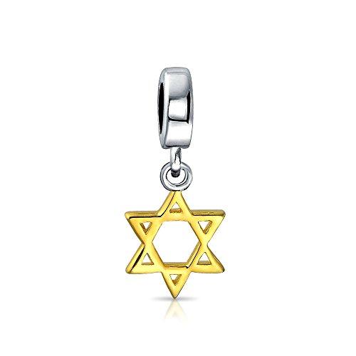 Judaic Jewelry For Bat Mitzvah Hanukkah Star Of David Magen Jewish Dangle Charm Bead For Women 14K Gold Plate Sterling Silver Fits European Bracelet