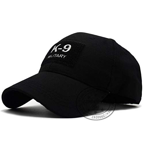 UKKO Baseball Cap 3D Gestickte Dog Polizist Cops Baseball Caps Men Hut Hüte Adjustable Kappe Polizei Mann Kappe Hut,K9 Schwarz