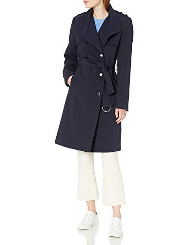 Calvin Klein Damen Women's Belted Wrap Trenchcoat, navy, Large
