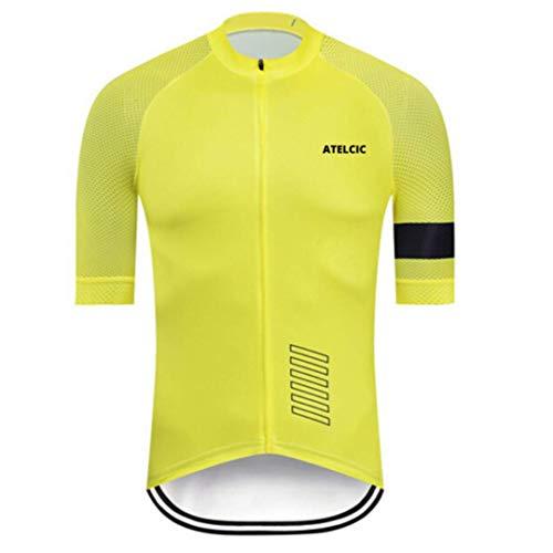 Atelcic Fahrradtrikot für Mountainbike, Spinning, Rennrad, kurzärmelig, Sommer, für Damen und Herren, Unisex, gelb, L