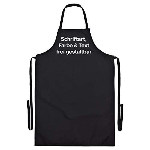 König Schürze Druck Brustbereich mit Wunschtext (Schriftart und Schriftfarbe wählbar) Amazon Designer gestalten Grillschürze KochschürzeKüchenschürze