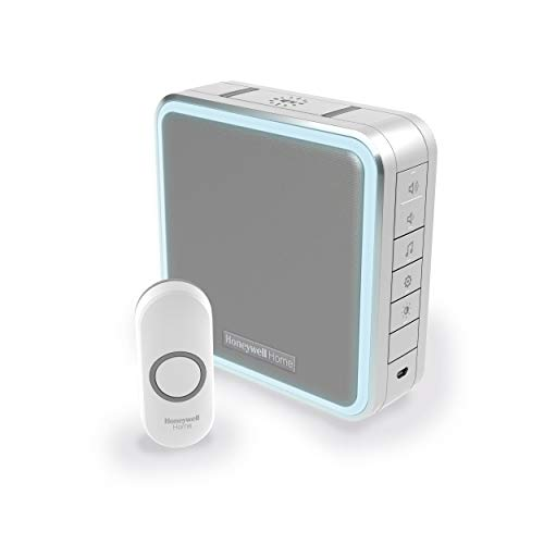Honeywell Home DC915NG Series 9 Portable, Wireless LED Doorbell Chime with Push Button (Grey)