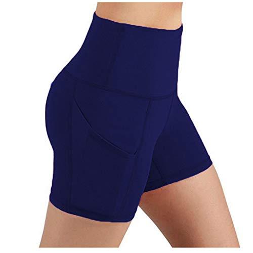 SHOBDW Leggings Cortos Mujer Cintura Alta Yoga Mallas Pantalones Cortos Deportivos Leggins con Bolsillos Secado rápido Yoga Running Elásticos Reducir Abdomen Medias(Armada,XXL)