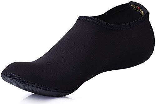 JACKSHIBO Erwachsene Barfuß Schuhe Weich Wassersport Schuhe Damen Schwimmschuhe Surfschuhe Badeschuhe, Schwarz, 2XL(EU 42-43)