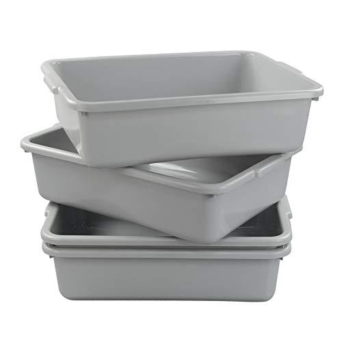 Xyskin Plastic Rectangle Utility Bus Box, Restaurant Commercial Tub, Grey, 4 Packs