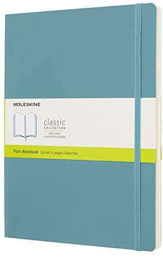 Moleskine Classic Notebook, Taccuino con Pagine Bianche, Copertina Morbida e Chiusura ad Elastico, Formato XL 19 x 25 cm, Colore Azzurro Blu Reef, 192 Pagine