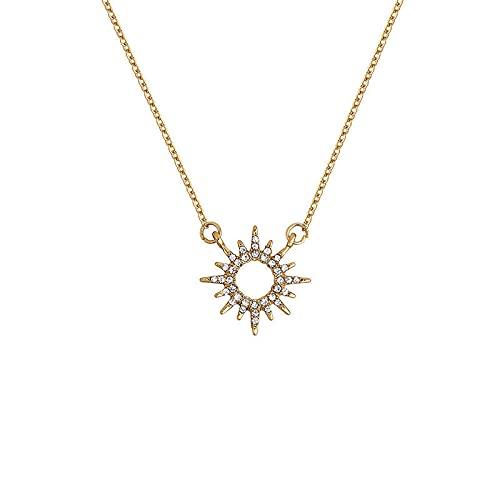 Collares Collar de plata Shiny Zircony Sun Niche Luxury Channel Chain Regalo