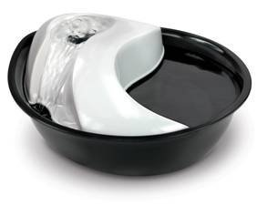Pioneer Pet Raindrop Fountain, Pet Drinking Fountains (60 oz, Plastic -Black & White)