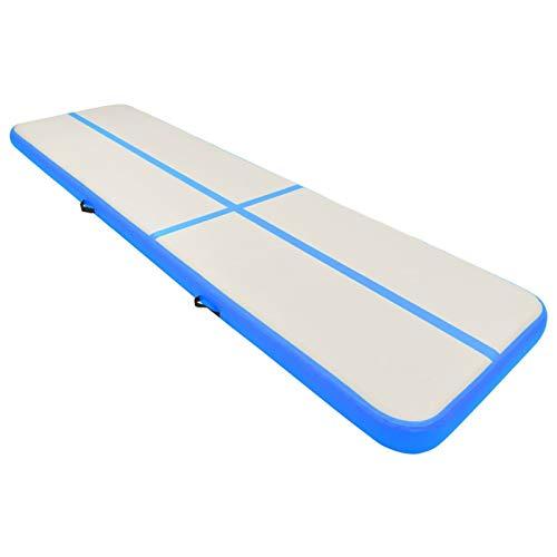 Tidyard Esterilla Inflable de Gimnasia con Bomba Colchoneta para Gimnasia PVC Azul 600 x 100 x 15 cm