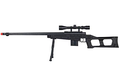 Well Full Metal MB4409 Spring Sniper Rifle Airsoft Gun (Black Scope & Bipod Package)