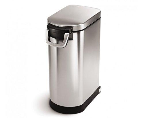simplehuman 35 Liter, 40 lb / 18.1 kg X-Large Pet Food Storage Can, Brushed Stainless Steel
