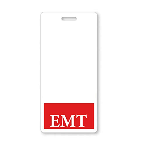 Red EMT Badge Buddy - Vertical - Heavy Duty Spill Proof & Tear Resistant Cards - Double Sided- Quick Role Identifier ID Buddies for Emergency Medical Technicians Printed in The USA - by Specialist ID