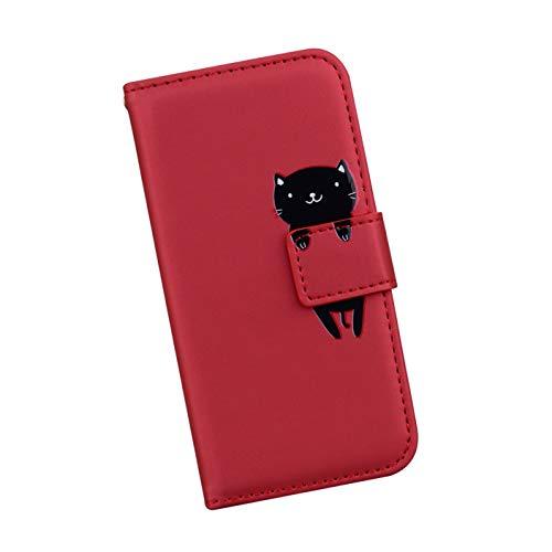 Ysimee Handyhülle kompatibel mit Samsung Galaxy S7 Edge, Cartoon-Muster Case Schutzhülle Klappbar Stoßfest Kratzfest Hülle Flip Handy Tache mit Kartenslots und Standfunktion,Rot Katze