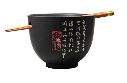 [ ZEIT SCHWARZ ] Soba Bowl/Suppen-/Nudel-/Reisschale + 1 Paar Essstäbchen