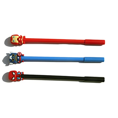 CraZone24 Marvel Multicolour Pen Fast Writing Blue Ball Pen-(3 Pens in 1 Set)