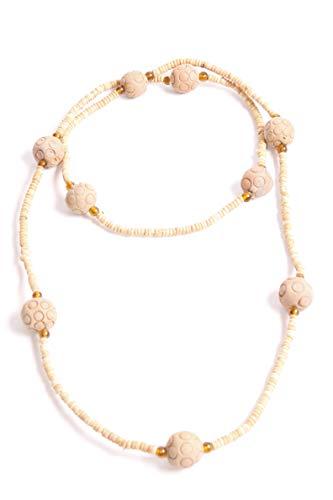 FreshFunkyFashion Collar Largo de Cuentas de Madera Azteca Bohemia Beige con círculos patrón de Bolas (S537)