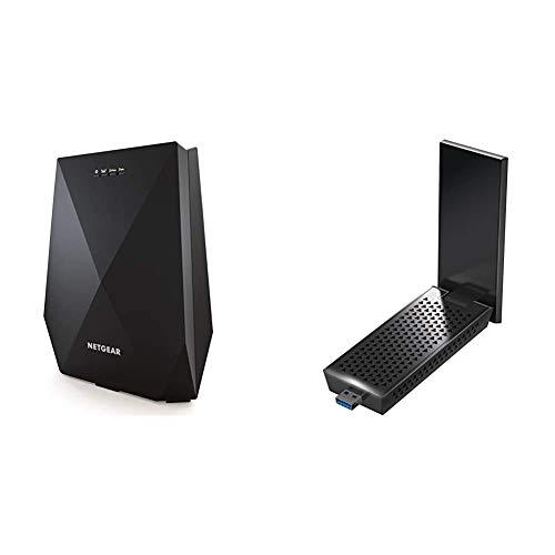 Netgear WLAN Mesh Repeater EX7700 WLAN Verstaerker & Super-Boost WiFi (AC2200 Tri Band, Abdeckung 4 bis 5 Räume & 40 Geräte) & A7000 USB WLAN Stick AC1900 (USB 3.0 WLAN Adapter)