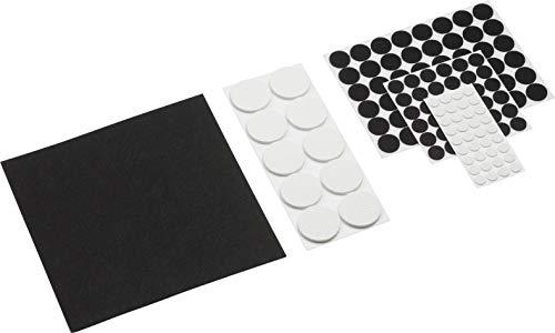 Metafranc Filz-Gleiter-Sortiment 131-teilig - selbstklebend - schwarz / weiß - Effektiver Schutz Ihrer Möbel & Stühle / Möbelgleiter-Set für empfindliche Böden / Stuhlgleiter / Bodengleiter / 281180