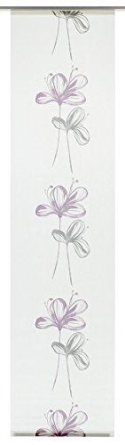 Gardinia Flächenvorhang Stoff waschbar 126 Flower weiß/lila 60 x 245 cm
