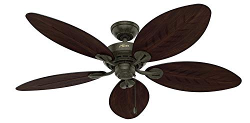 Hunter Bayview Indoor / Outdoor Ceiling Fan with Pull Chain Control, 54', Provencal Gold