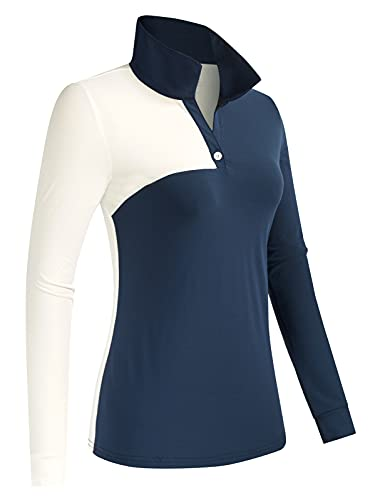JACK SMITH Womens Golf Tennis Polo Shirt Button Up Long Sleeve Casual Shirts Running Shirts Golf Clothes(M, Navy Blue + White)