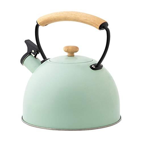 Bouilloire à sifflet en acier inoxydable pour toutes les plaques de cuisson, bouilloire à sifflet avec poignée en bois, bouilloire pour thé, café 2,5 l