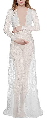 WINKEEY Vestido Maxi de Maternidad de Encaje Floral Vestido de Embarazo Sesión de Fotos Manga Larga Cuello en V, Blanco L